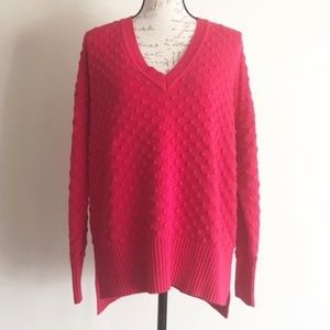 1. State Red Hi-Lo Textured Knit V-Neck Sweater M